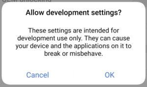 Enable developer option